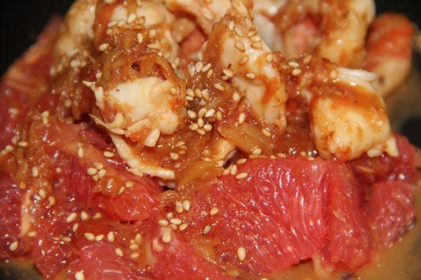 Crevettes sautées au pamplemousse