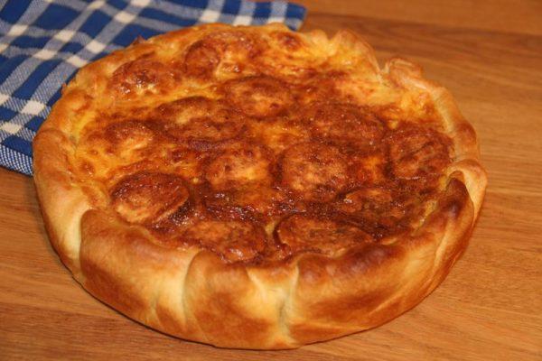 Quiche jambon, fromage de chèvre et curry