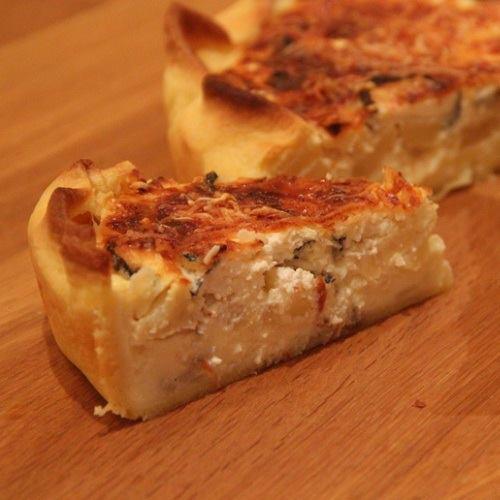 Quiche topinambour, pomme, fromage de chèvre