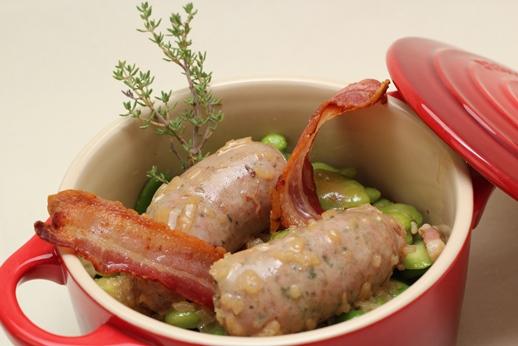 Diots de Savoie braisées à l'Apremont, fèves au lard