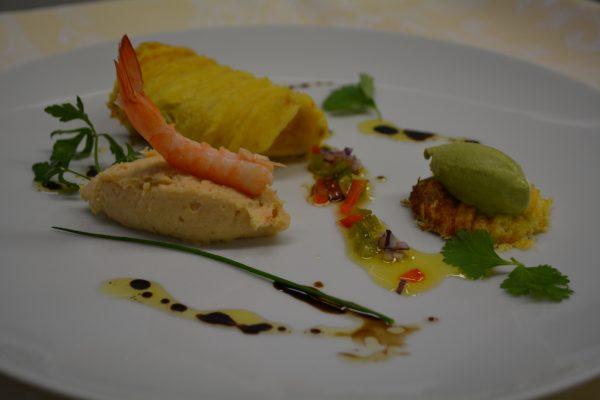 Gaufre de haddock, mousse de crevettes et sorbet aux herbes